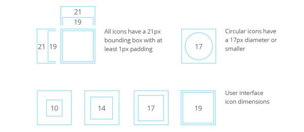 размеры иконок: